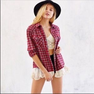 BDG (UO) LOUIE LACE LAYERED FLANNEL SIZE XS